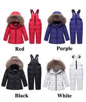 erkek kış kıyafetleri toptan satış-Çocuklar Aşağı Ceket Erkek Kız Iki Suits Aşağı Ceket Rakun Kürk Yaka Kış Giyim Bebekler ve Bebekler Için Pan Shao Xing