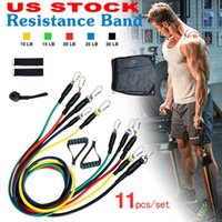 rohrwiderstandsbänder groihandel-US-Aktien 11pcs / set Übungen Widerstand-Bänder Latex Tubes Pedalkörper Home Gym Fitness Training Workout Yoga Elastic Pull Rope Ausrüstung