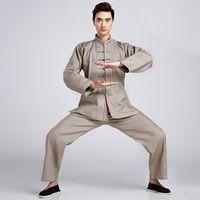 tai chi xxl roupas venda por atacado-Alta Qualidade Bege Chinês Homens De Linho De Algodão Tai Chi Kung fu Uniforme Do Vintage Wu Shu Roupas M L XL XXL XXXL 2516