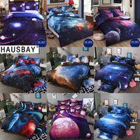 Wholesale cotton 3d double bedding set resale online - Bedding Sets Universe Outer Space Themed Bed Linen D Galaxy Duvet Cover Flat Sheet Single Double Size BS005
