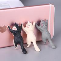 ipad saugständer großhandel-Netter Handy-Halter-Standplatz-Katzen-Haltewinkel-Schreibtisch-Minikatzen-Haltewinkel-Saugnapf für Xiaomi Huawei Iphone X Xr Samsung Ipad Geschenke