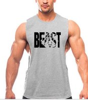 Wholesale clothes trading for sale - 2019 new Foreign trade gym tank top summer round collar big open fork BEAST sports vest men s pure cotton fitness clothes