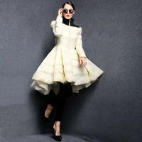ingrosso grandi cappotti di gonna-Piumini invernali a pieghe da donna 2019 New Fashion Wave Skirt Slim Warm Long Coat Female Big Swing Outwear Ladies Outwear