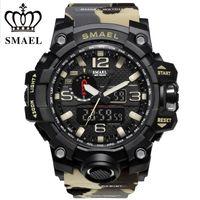 camuflaje moda deportiva al por mayor-SMAEL Dual Time Camouflage Digital Men Watch G Style Fashion Sports Army Watch Hombre LED Relojes de pulsera electrónicos