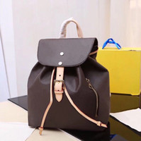 Wholesale travel backpacks resale online - Classic leather shoulder fashion backpack for women checkerboard pattern designer back pack draw small bag lady leisure travel backpack