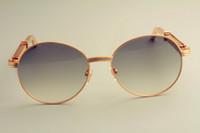 tapınak güneş gözlüğü toptan satış-Toptan Satış - Toptan-2019 sıcak satış yuvarlak çerçeve güneş gözlüğü 19900692 güneş gözlüğü, retro moda güneşlik, paslanmaz çelik metal tapınak güneş gözlüğü