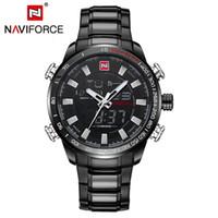 dijital kronometre saatleri toptan satış-Naviforce 9093 erkek chrono spor İzle marka askeri su geçirmez el arka dijital bilek saatler erkekler kronometre saat