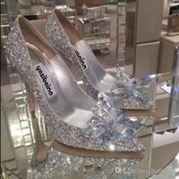 designer-brautschuhe kristalle groihandel-Silber Champagne / Red Fashion Luxury Designer Damenschuhe High Heels Hochzeit Brautschuhe Kristallabend-Partei-Abschlussball-Sommer-Schuhe