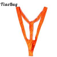 trajes de baño negro naranja al por mayor-TiaoBug Men Lencería Verde Brillante Naranja Negro Sexy Mankini Tanga Profundo Cuello en V de Hombres Borat para la Playa de vacaciones traje de baño Tanga Hombre