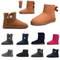 Chestnut Stiefel 2020 WGG Mode Bow Knot Buckle Klassische Australia Boots Cool Gray tephra rotbraunes Fell Knöchelhalb Knie Stiefel für Damen Schuhe