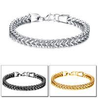 Wholesale costume jewelry snake bracelets resale online - Cool Stainless Steel Men Charm Cuff Chain Bracelet Black Steel Gold Wristband Bangle Bracelets Costume Jewelry Men Accessories Gift