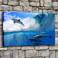 Wholesale beautiful sea painting for sale - Group buy Wall Art Canvas Prints Pictures Home Decor Piece Beautiful Many Dolphins Swims In Sea Wave Painting Living Room Poster