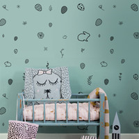 Wholesale furniture wall paper sticker for sale - Group buy DIY Creative Animal Rabbit Eggs Wall Sticker Wallpaper Furniture Cabinets Decal Kids baby Room Home Decoration YQT079