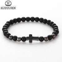 Wholesale balance charms resale online - HOBBORN Trendy Black Onyx Beads Men Bracelet Handmade Natural Stone Healing Reiki Prayer Balance Women Mens Cross Bracelets Cruz
