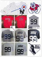 ny trikots großhandel-Mens NCAA Fresno State Bulldog Aaron Judge Baseball Jersey Genäht NY, damit wir # 99 Aaron Judge Courthouse Judgement Day Patch Jersey vergessen
