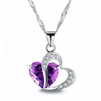Wholesale FAMSHIN Sell like Hot Cakes colors Top Class lady Fashion Heart Pendant Necklace Crystal jewelry New Girls Women Jewelry
