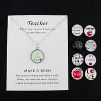 Wholesale teachers gifts for sale - Group buy Teacher Apple Teach Love Inspire Silver Pendants Chain Necklaces Women Men Unisex Trendy Jewelry Christmas Gift Many Styles