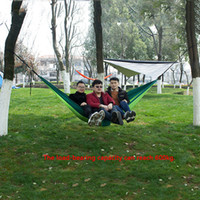 Wholesale camping hammocks for sale - Group buy 12 Color Outdoor Parachute Cloth Hammock Foldable Field Camping Swing Hanging Bed Nylon Hammock With Rope Carabiners DBC DH1338
