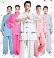 ropa wushu al por mayor-Uniforme de artes marciales chino Entrenamiento de primavera y verano Ejercicio matinal Tai Chi Ropa Ropa de lino Wushu Kung Fu Rendimiento