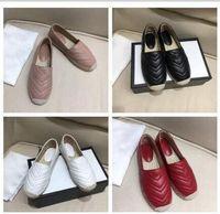 sapatas de lona do loafer venda por atacado-Sapatos de lona de couro das mulheres designer de moda sapatos baixos mocassins de alta qualidade sapatos de pescador de montanhismo mocassins
