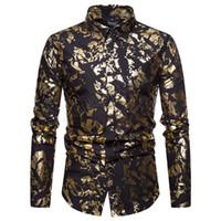 ingrosso cappotto d'argento lucido-Mens Night Club rivestito in metallo argento oro argento monopetto camicie partito maschio lucido maniche lunghe camicie più dimensioni