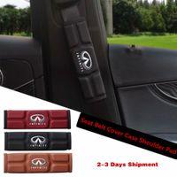 kırmızı araba koltuğu örtüleri toptan satış-Infiniti için araba Emniyet Kemeri Kapak Kılıf Omuz Pedi QX80 QX60 MX35 M35 M45 Kırmızı Siyah Kahverengi Bellek Pamuk