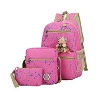 conjunto de saco escola coreana venda por atacado-Atacado- 3Pcs / Set Coreano Casual Mulheres Mochilas de lona Sacos de Escola de Viagem Feminina para Adolescentes Meninas Crossbody Bag + bolsa de embreagem