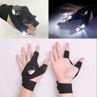 Wholesale repair flash for sale - Group buy LED Cycling Gloves Flash Torch Magic Strap Glove For Repairing Working Outdoor Sporting Camping Hiking Fishing Hand Light Glove XD21923