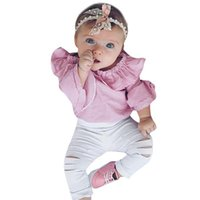 Wholesale baby half pant girl for sale - Group buy Baby girls ruffle sleeve striped romper torn pants suit infant clothing children fashion set