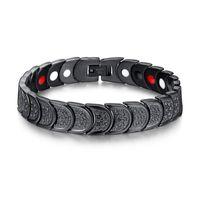 ingrosso braccialetto magnetico nero-Gioielli dell'acciaio inossidabile 316L guarigione magnetica di sanità di modo del braccialetto Bio Magneti Bracciale Uomo Nero Bracciale Braccialetti 22,5 centimetri * 1,2 centimetri