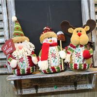 muñeco de nieve de juguete al por mayor-Santa Claus Snowman Elk Doll Ornament Flannelette Hanging Cartoon Toy Adornos Colgantes decorativos para Navidad Decoración interior 8qy E1