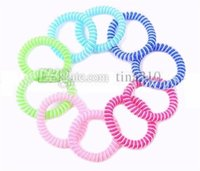Wholesale bracelet ring chain online - Double Color Mosquito Repellent Bracelet Stretchable Elastic Coil Spiral hand Wrist Band telephone Ring Chain Anti mosquito bracelet I541