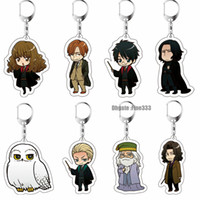 Wholesale action rubber for sale - Group buy Harry Potter Acrylic Keychain Toy Dobby Hermione Granger Malfoy Harri Potter Dumbledore Action Figure Toys Party KeyRing Gifts