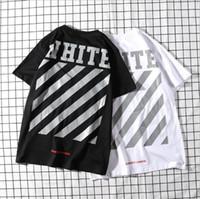 13b9d46262b46 2019 Tide marque printemps concepteurs mens t-shirts rayure décélération t-shirt  femme blanc col rond hip hop top t-shirts