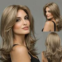 larga peluca rizada natural al por mayor-Sintéticas libres del envío del pelo pelucas llenas Natural largo rizado peluca rubia degradado resistente al calor