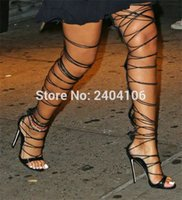 Wholesale thigh high leather gladiator sandals resale online - Summer Rihanna Rome Shoes Woman Cut Outs Long Strappy Thigh High Boots Cross tied Stiletto High Heels Lace Up Gladiator Sandals
