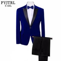 синие смокинги для выпускного вечера оптовых-PYJTRL Brand Mens Classic 3 Pieces Set Velvet Suits Stylish Burgundy Royal Blue Black Wedding Groom Slim Fit Tuxedo Prom Costume