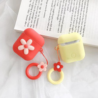 Wholesale soft earbuds for sale - Group buy 6 colors Bluetooth Earphone Case Flower Silicone Case Soft Wireless Earbuds carrying storage case party favor AN2834