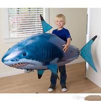 hava yüzücüleri oyuncakları toptan satış-24pcs / lot Toptan IR RC Hava Yüzücü Shark Palyaço balıkları Uçan Balık Montaj Palyaço Balık Çocuklar için Uzaktan Kumanda Balon Şişme komik Oyuncaklar