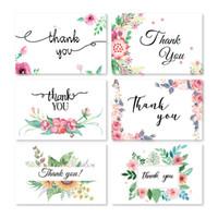 enveloppes de cartes papier achat en gros de-Lettre anglaise mini-cartes de vœux merci cartes de bénédiction festivals amis cadeaux fleurs motif enveloppe papier de rédaction QQA257