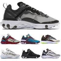zapatillas de correr gratis para niños al por mayor-Niños para hombre para mujer Calzado deportivo Free Run React Element 87 Zapatillas de deporte de diseñador Zapatillas de deporte blanco negro claro Orewood Marrón Zapatilla deportiva deportiva