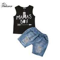 garoto jeans legal venda por atacado-Pudcoco Verão Infantil Criança Recém-nascida Kid Baby Boy Roupas Definir Legal Sem Mangas Com Capuz T-Shirt Tops + Calça Jeans Curta Outfits