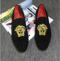 Wholesale italian leather slippers men for sale - Group buy Italian Classic Business Diamond Rhinestone Men Loafers Luxury Rivets Shoes Brand Slip on Pointed Toe Party Slippers Wedding Shoes W264