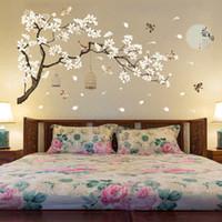 kuşlar çiçekler ağacı duvar toptan satış-187 * 128 cm Büyük Boy Ağacı Duvar Çıkartmaları Kuşlar Çiçek Ev Dekor Oturma Odası Yatak Odası DIY Vinil Odaları için Duvar Kağıtları dekorasyon