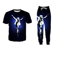michael jackson moda venda por atacado-Nova Moda Feminina / Mens Michael Jackson Engraçado 3d Impressão T-Shirt + Jogger Calças Casusal Treino Sets2
