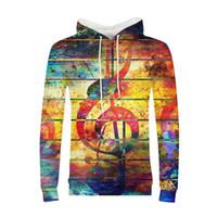 sudaderas de música rock al por mayor-Hoodies Man 3D Impreso Rainbow Color Rock Music Note Hip Pop Streetwear Sudadera con capucha Hombres Chaqueta con capucha de manga larga Pollover