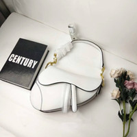 Wholesale accessories handbags resale online - Quality genuine leather saddle bag Luxury classic designer handbag new metal letter accessories women tote bag with box