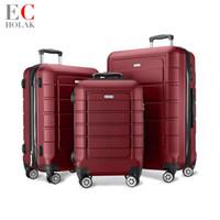 tsa bavul kilidi toptan satış-TSA Kilit Spinner ile 3 Parça Set Bagaj 20in24in28in Genişletilebilir Bavul PC + ABS bavul ile tekerlek tramvay durumda Bagaj