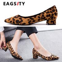 mujeres de la oficina visten el sexo al por mayor-Sexo leopardo bloque zapatos de las mujeres señoras de los talones del dedo del pie en punta vestido de las bombas de trabajo la boda del partido carrera de la oficina zapatos con tacones altos