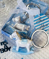 Wholesale baby shower favor keychain for sale - Group buy DHL Rocking horse keychain for baby born gifts wedding favor for guest Trojan key ring Baby Shower Gift Festive NN